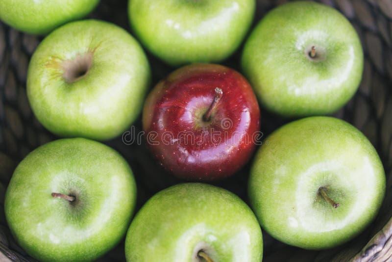 Closeupsikt av sunda färgrika gröna äpplen och ett rött äpple i en korg och de smakliga fördelarna av varje var vita olika disket royaltyfri fotografi