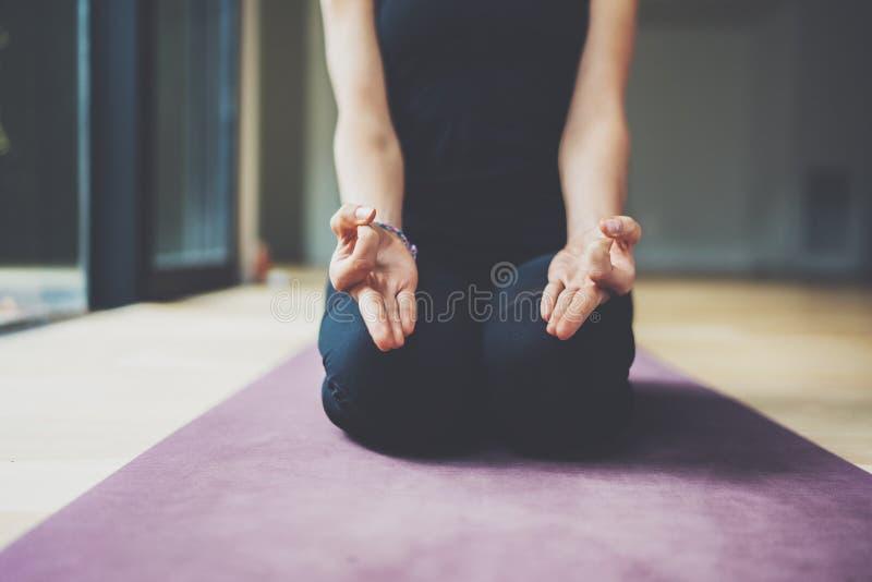 Closeupsikt av ursnygg praktiserande yoga för ung kvinna inomhus Härlig matsyendrasana för flickaövningsardha i grupp fotografering för bildbyråer