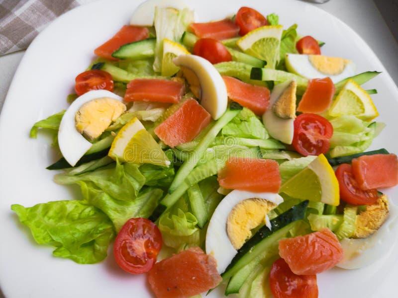 Closeupsikten av plattan mycket av ny grön sallad med mintkaramellsidor, gul havre, tomaten, tonfiskfisk tjänade som med saftig c royaltyfria bilder