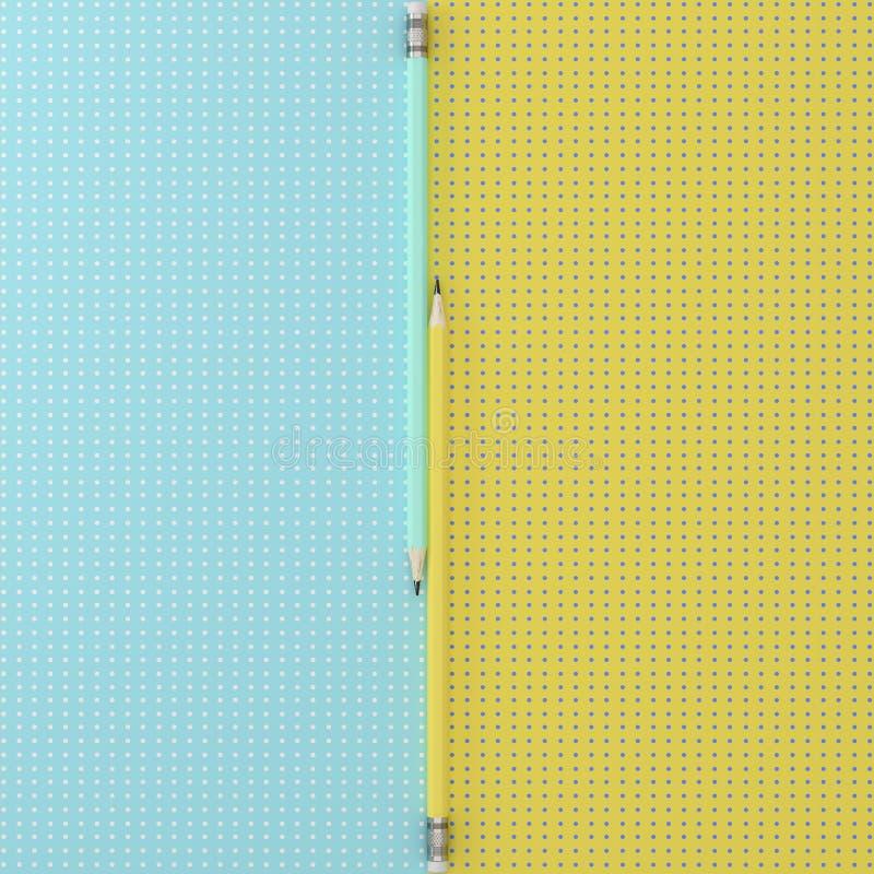 Closeupskottet av blått och guling ritar på blått- och gulingfärger vektor illustrationer