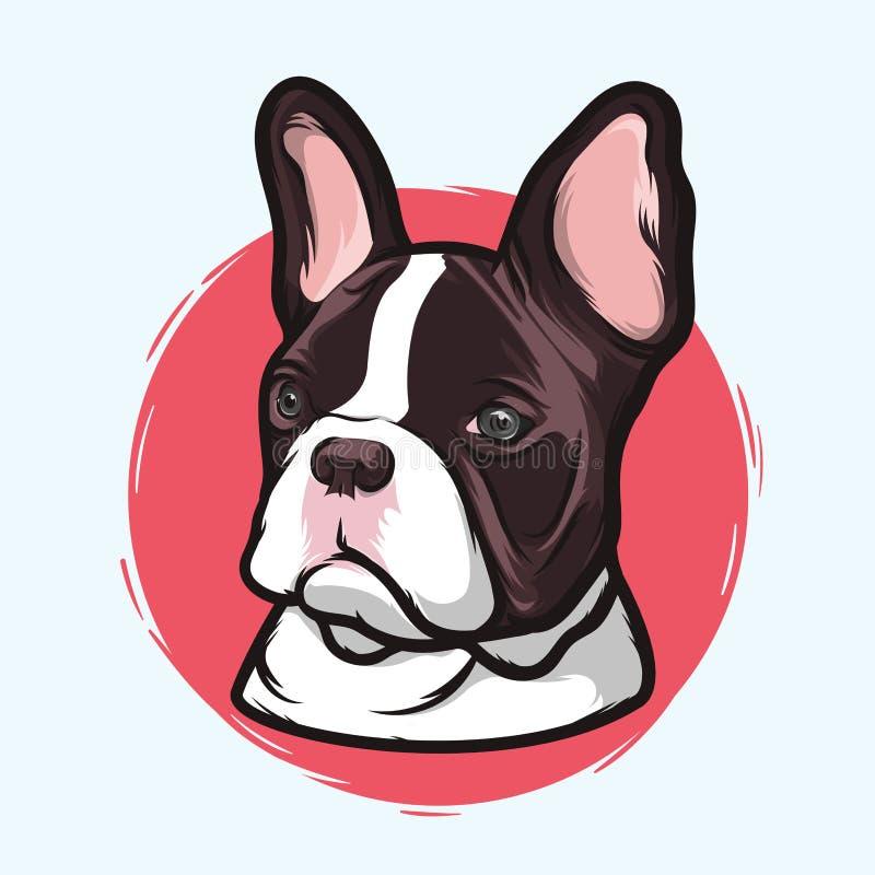 Closeupstående av aveln för fransk bulldogg för inhemsk hund på den vita bakgrunden Hand dragen linje konst Kopieringsutrymme vektor illustrationer