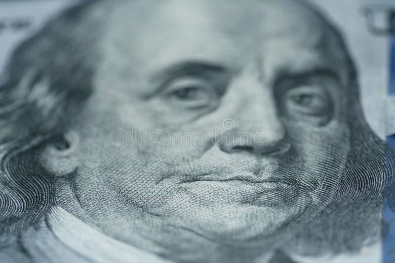 Closeupstående av Benjamin Franklin på hundra dollarräkning royaltyfria foton