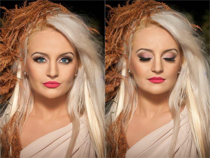 Closeupstående av den blonda kvinnan med idérik höstlig frisyr, studioskott Lång ganska hårflicka med yrkesmässig makeup arkivfoto