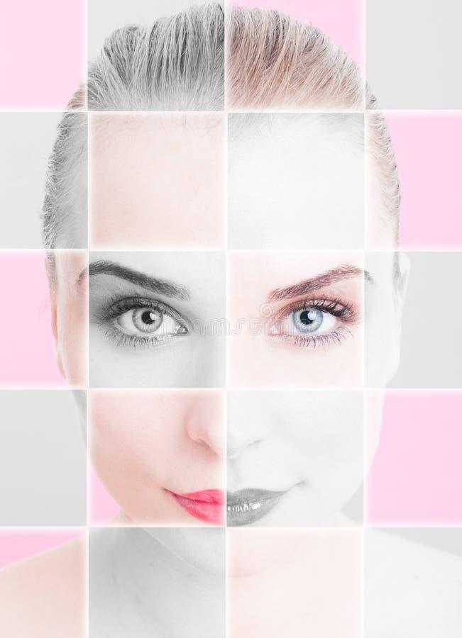 Closeupstående av den härliga kvinnan med collage och filtret appl arkivfoto