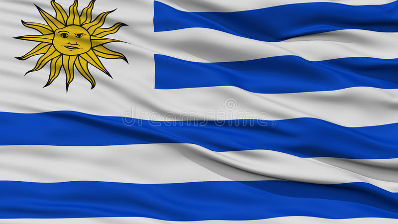CloseupUruguay flagga royaltyfri illustrationer