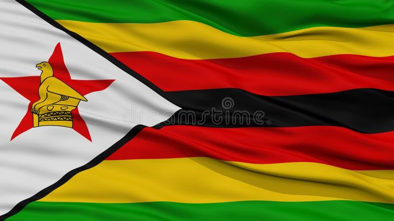 CloseupZimbabwe flagga royaltyfri illustrationer