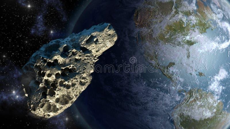 Closing asteroide na terra ilustração do vetor