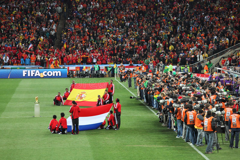Closing ceremony before the final match. JOHANNESBURG - JULY 11 : Final at Soccer City Stadium: Spain vs. Netherlands on July 11, 2010 in Johannesburg. Closing royalty free stock photo