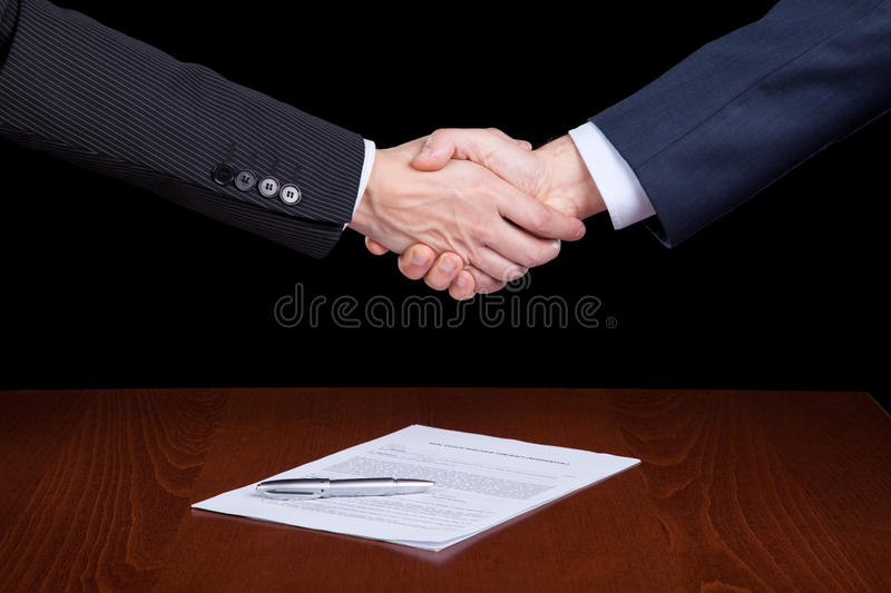 Closing the contract stock photography