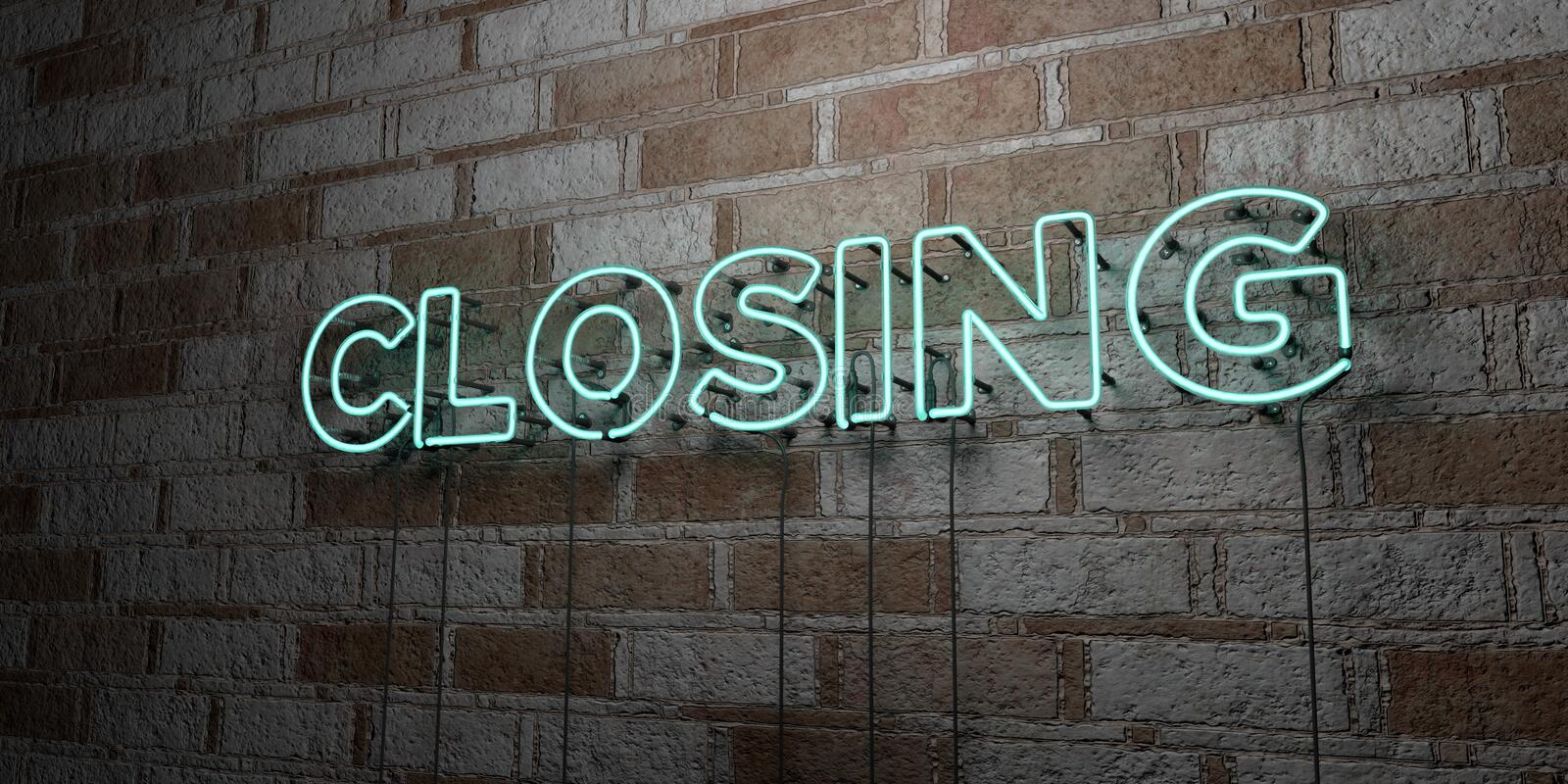CLOSING - Glowing Neon Sign on stonework wall - 3D rendered royalty free stock illustration. Can be used for online banner ads and direct mailers vector illustration