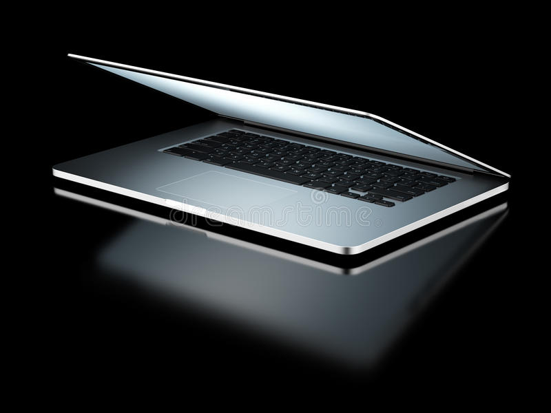 Closing laptop. Isolated on a black background. 3d render royalty free stock photos