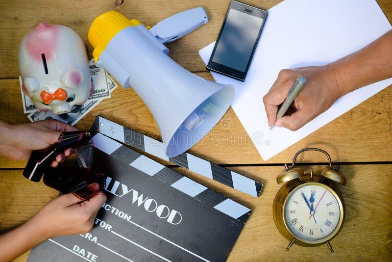 Closup bild på planläggningen som gör film med royaltyfri foto