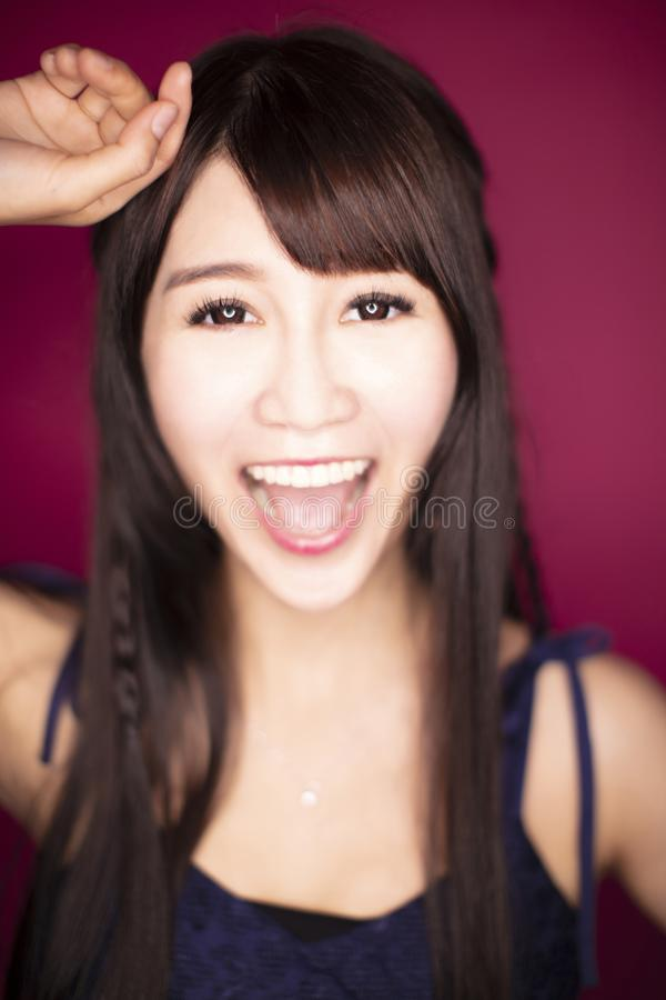 Closup excited young beautiful woman royalty free stock photography