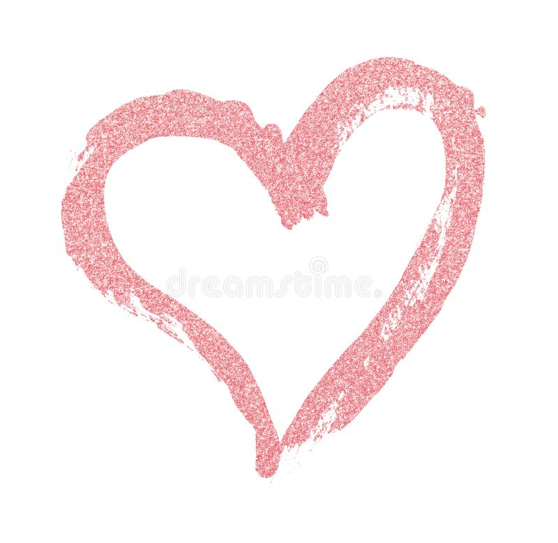 Closup of pink glitter heart painted with a brush royalty free stock photography