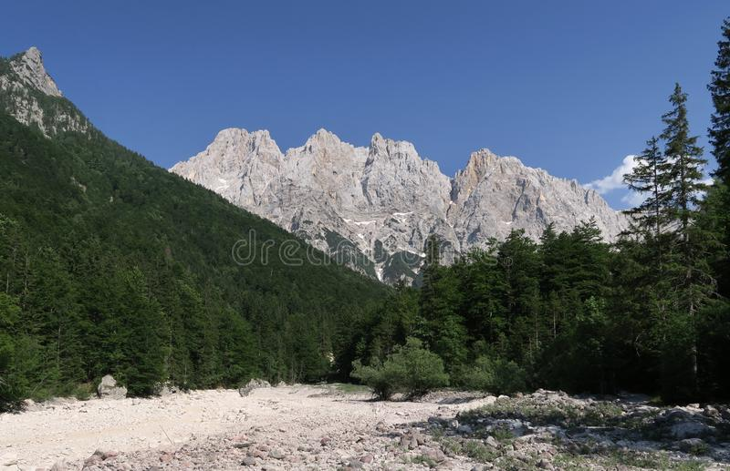 Closure of the Krnica valley with the top of the Križ mountain in the Julian Alps stock photography