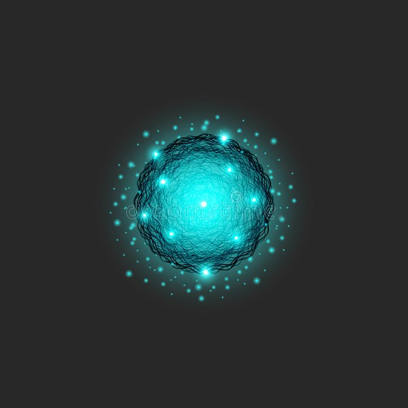 A clot of energy logo is a substance of blue color, circle shapes dynamic particle series, science fractal round texture royalty free illustration