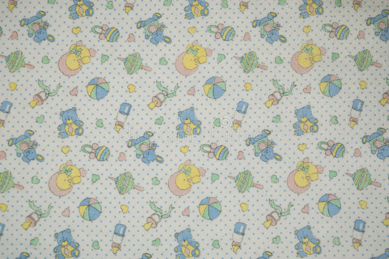 Cloth. A cloth paintings with baby drawing, balls, spinning tops, ducklings and rattles stock photos