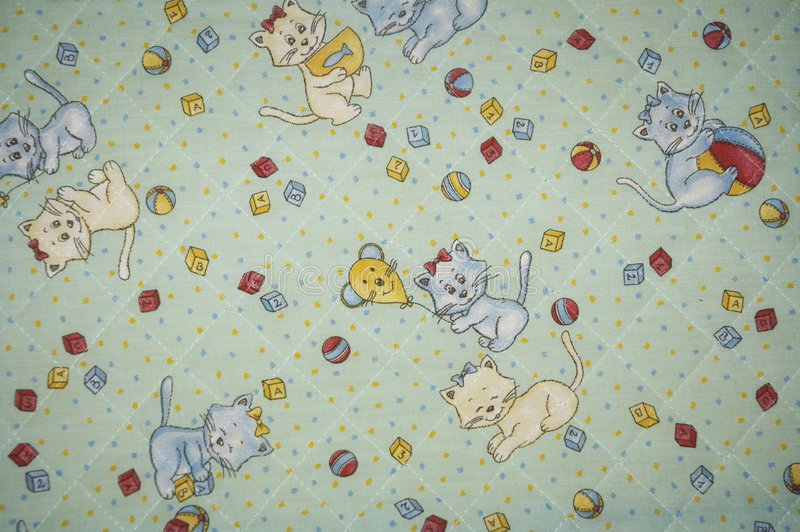 Cloth. A cloth paintings with baby drawing, balls, cats and mouses royalty free stock photos