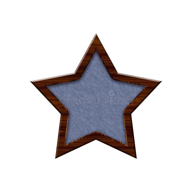 Cloth badge with wooden border in form of star. royalty free illustration