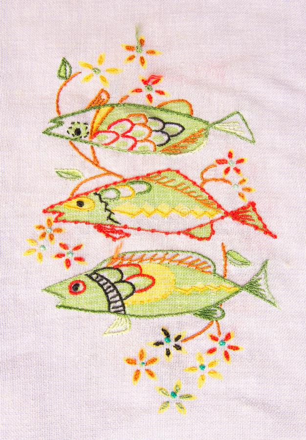 Download Cloth embroidery of fish. stock photo. Image of background - 30774444