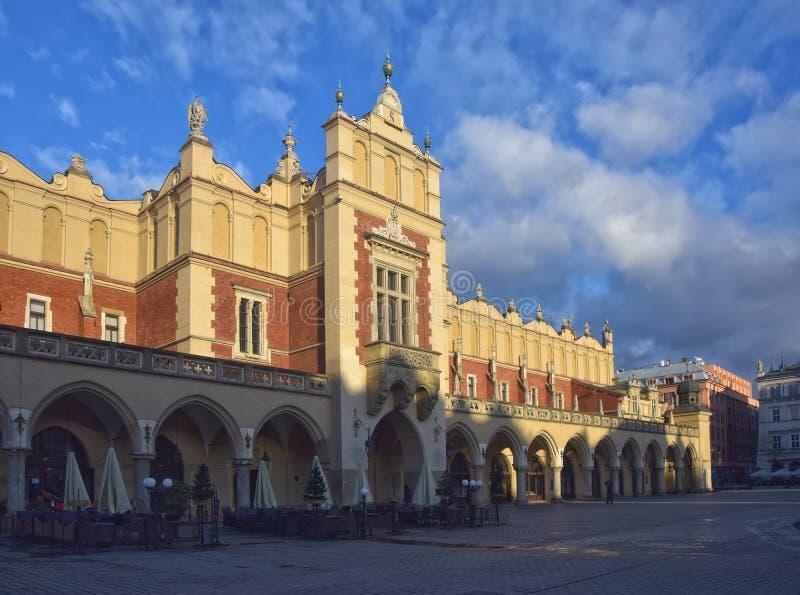 Cloth Hall on Main Market Square in Krakow, Poland at sunny morning royalty free stock photo