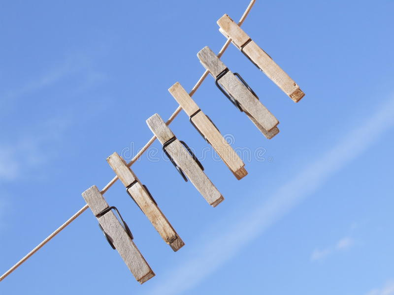 Cloth Peg's with Blue Sky Background stock photography