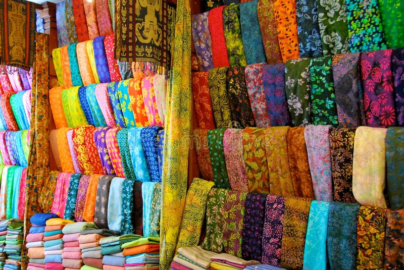 Cloth shop in Bali stock photo