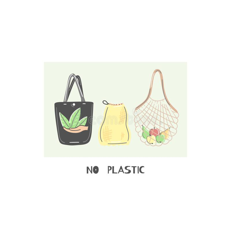 Clothe or string bag instead of plastic. Zero waste lifestyle. Eco friendly. Save planet. Care of nature. Vegan. Go green. Refuse, reduce, reuse, recycle, rot vector illustration