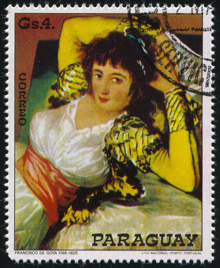 The Clothed Maja by Francisco de Goya. RUSSIA KALININGRAD, 15 APRIL 2017: stamp printed by Paraguay, shows Painting The Clothed Maja by Francisco de Goya, circa royalty free stock photography