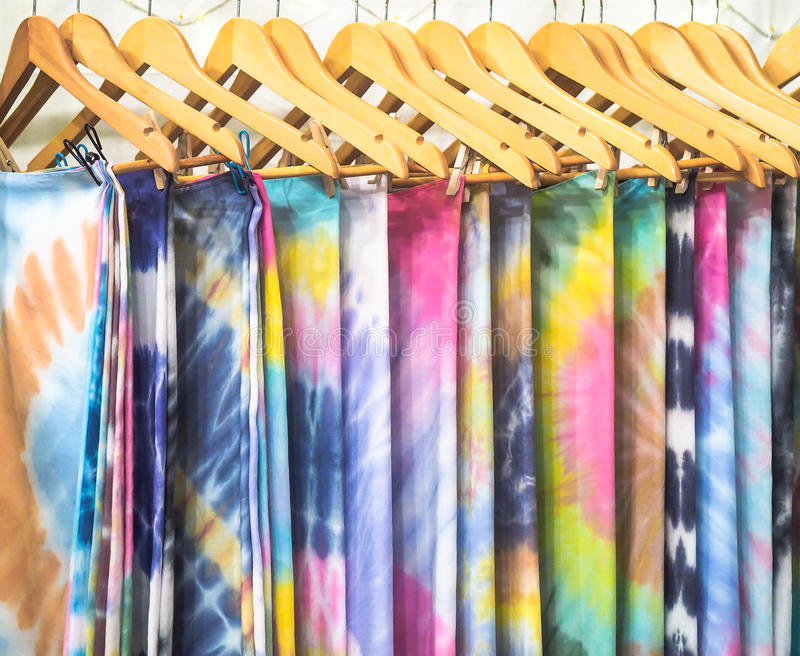 Clothed rack for display. With many colorful fabric royalty free stock photos