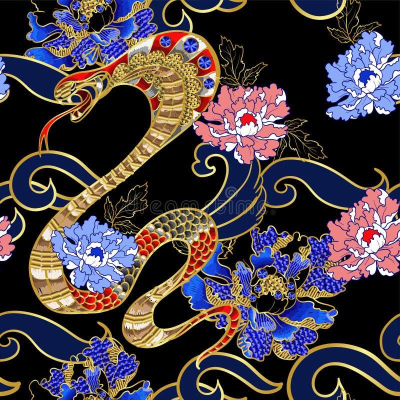 Clothers σχεδίου με το φίδι και peony κεντητική μπαλωμάτων με τα τσέκια απεικόνιση αποθεμάτων