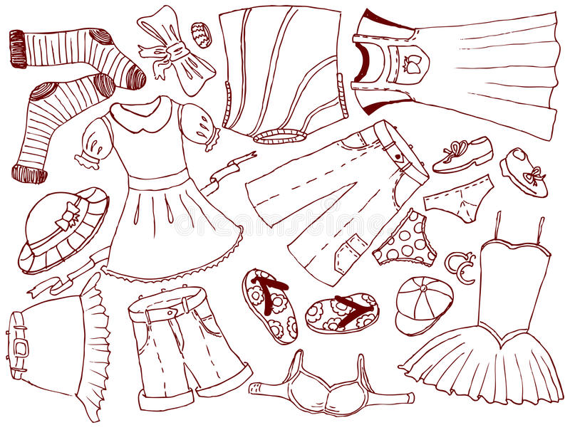 Clothes and accessories royalty free illustration