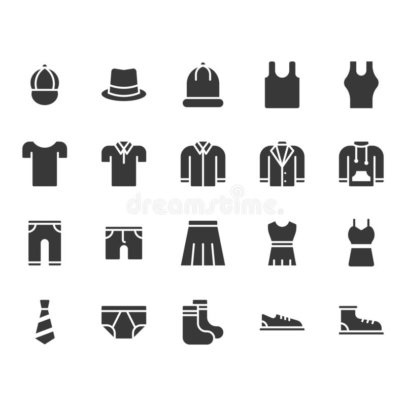 Clothes and accessories related icon set. Vector illustration royalty free illustration