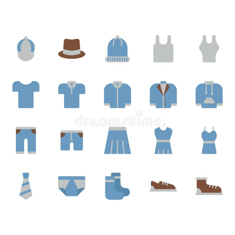 Clothes and accessories related icon set. Vector illustration stock illustration