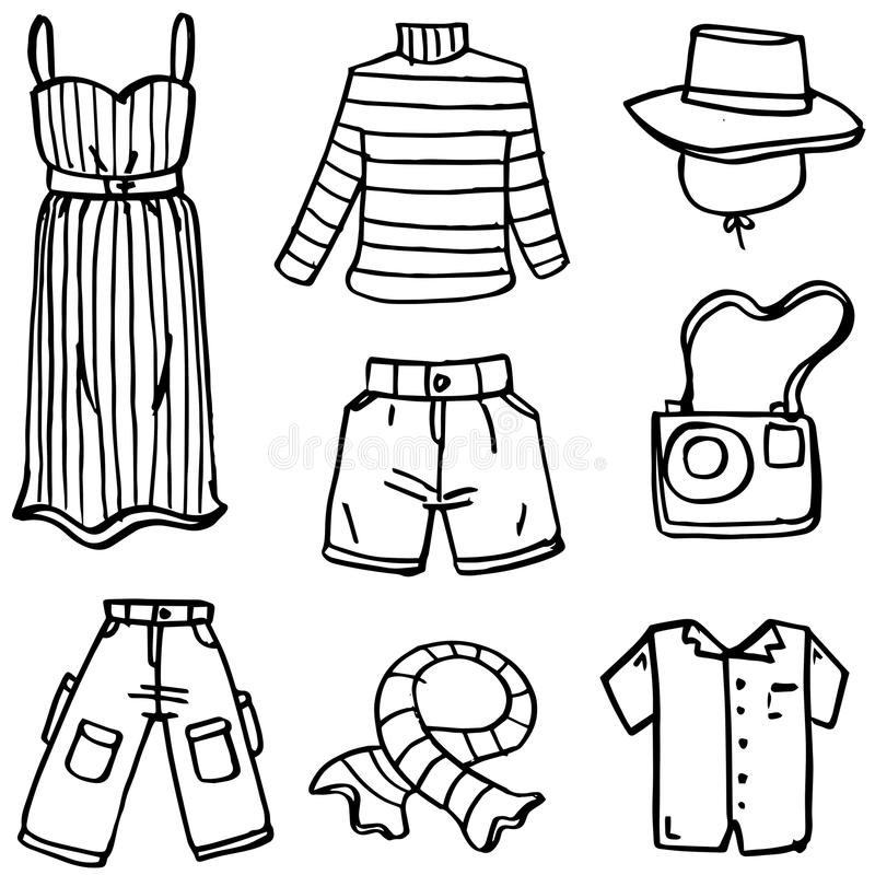 Clothes accessories set of doodles. Vector art royalty free illustration