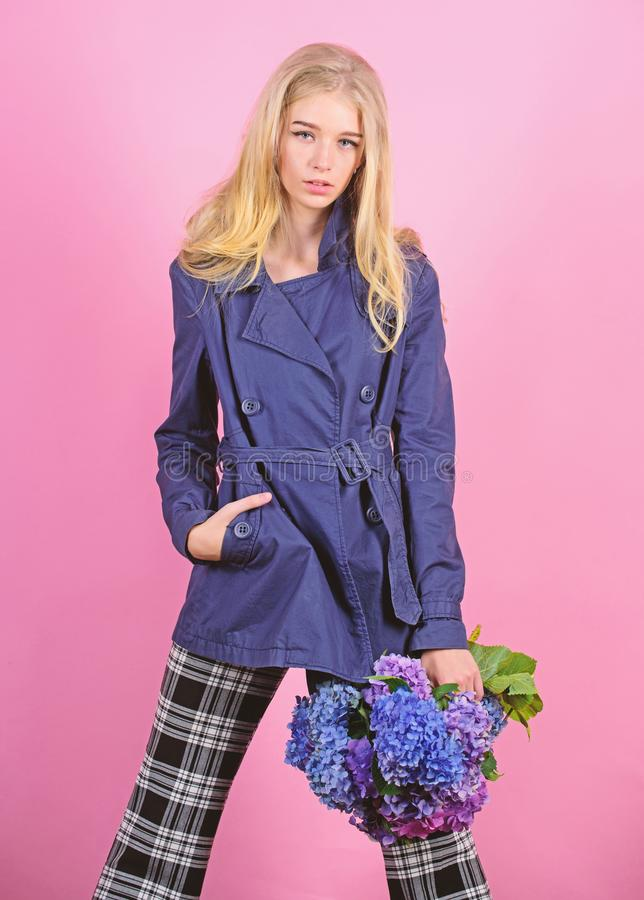 Clothes and accessory. Girl fashion model wear coat for spring and autumn season. Trench coat fashion trend. Must have. Concept. Fashionable coat. Woman blonde royalty free stock image