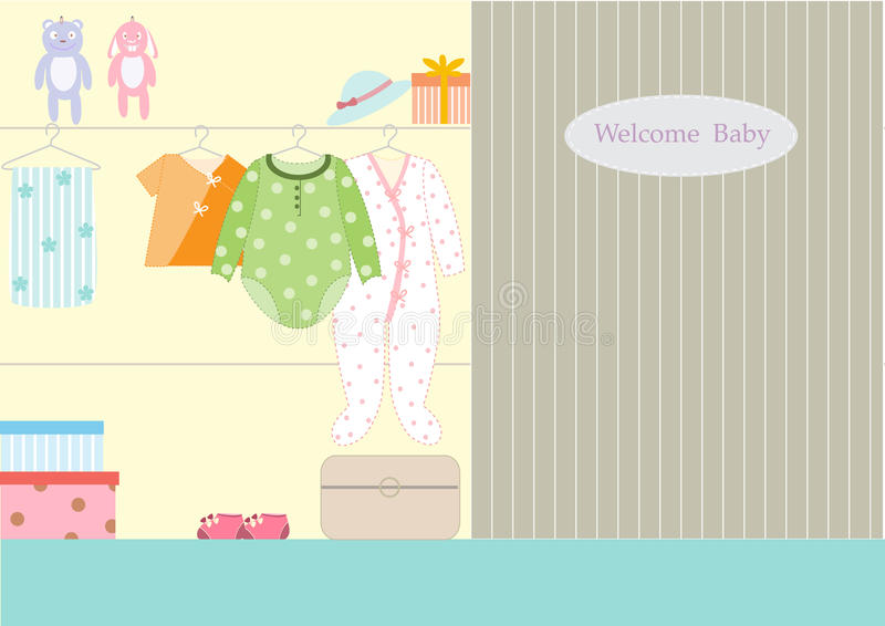 Clothes for baby in wardrobe, illustrations vector illustration