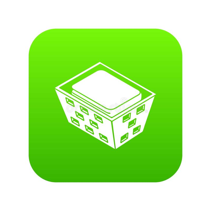 Clothes in basket icon green vector vector illustration