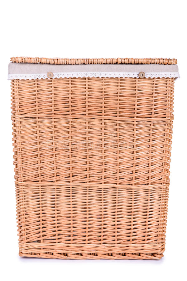 Clothes Basket With Straw Royalty Free Stock Photos