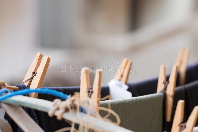 Clothes hanging on a clothesline on balcony royalty free stock photo