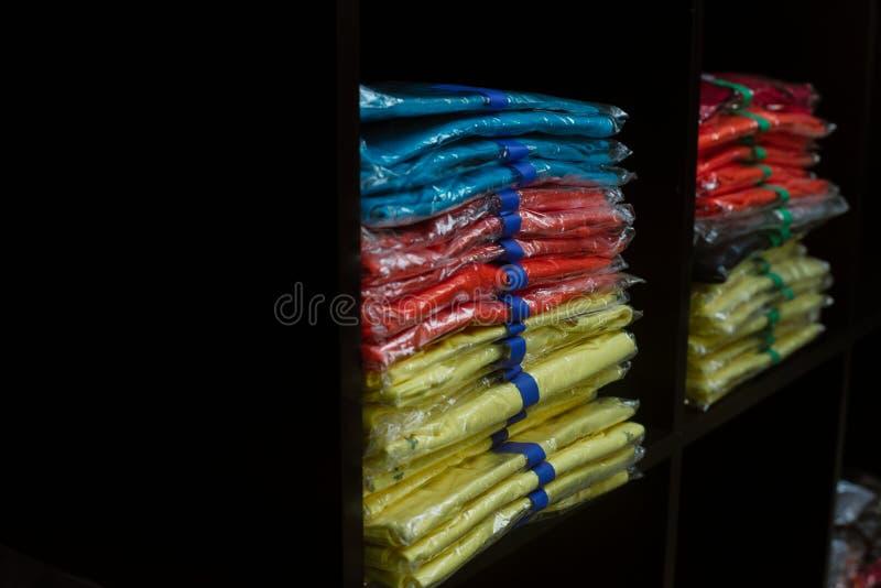 clothes in cellophane stock photo