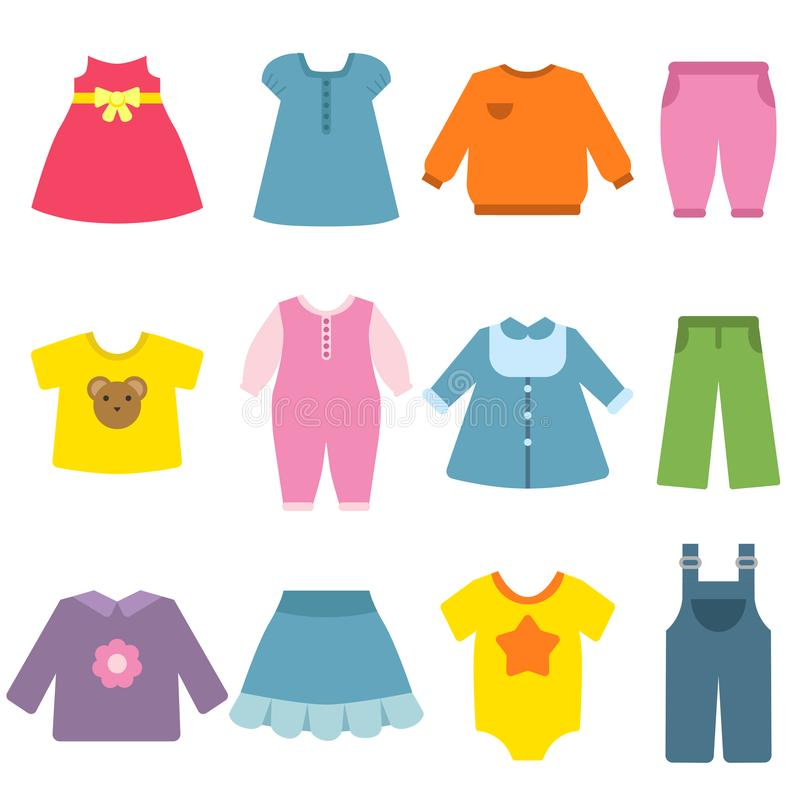 Clothes for childrens. Vector flat illustrations. Apparel kids, blouse and garment, fashion dress clothes stock illustration