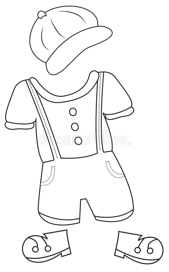 Clothes coloring page stock illustration illustration of for Clothing coloring page