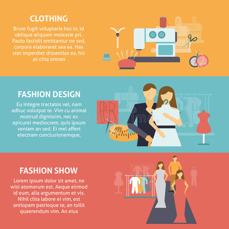 Clothes designer horizontal banners set royalty free illustration
