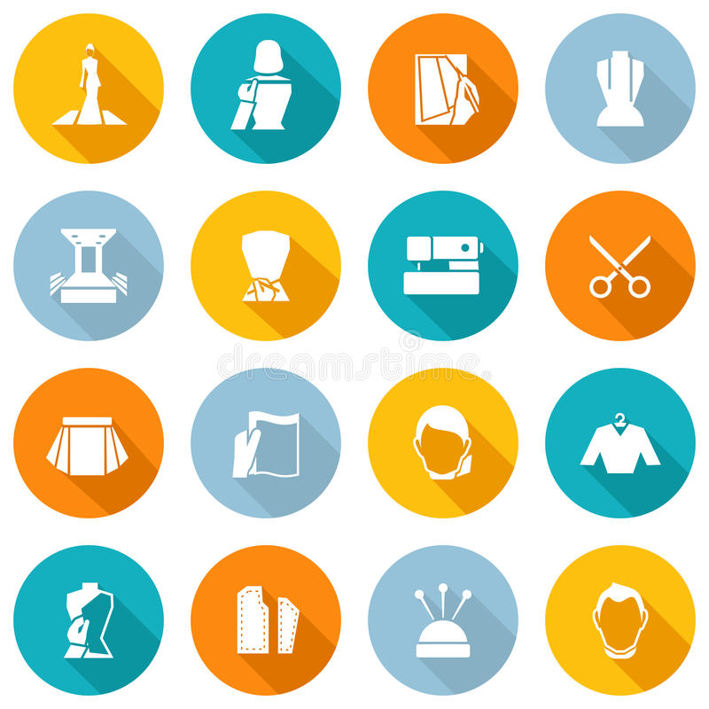 Clothes Designer Icons Flat stock illustration