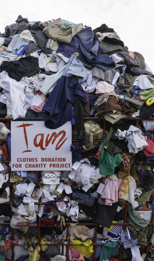 Clothes Donation. For charity project stock photos