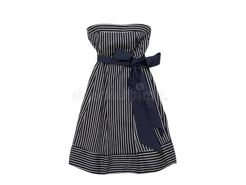 Clothes fashion concept. Blue striped dress with bow on white background. Isolated royalty free stock photography