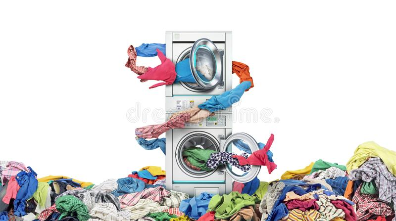 Clothes fly out of a washing machine into a tumble dryer. Isolated on white background stock images
