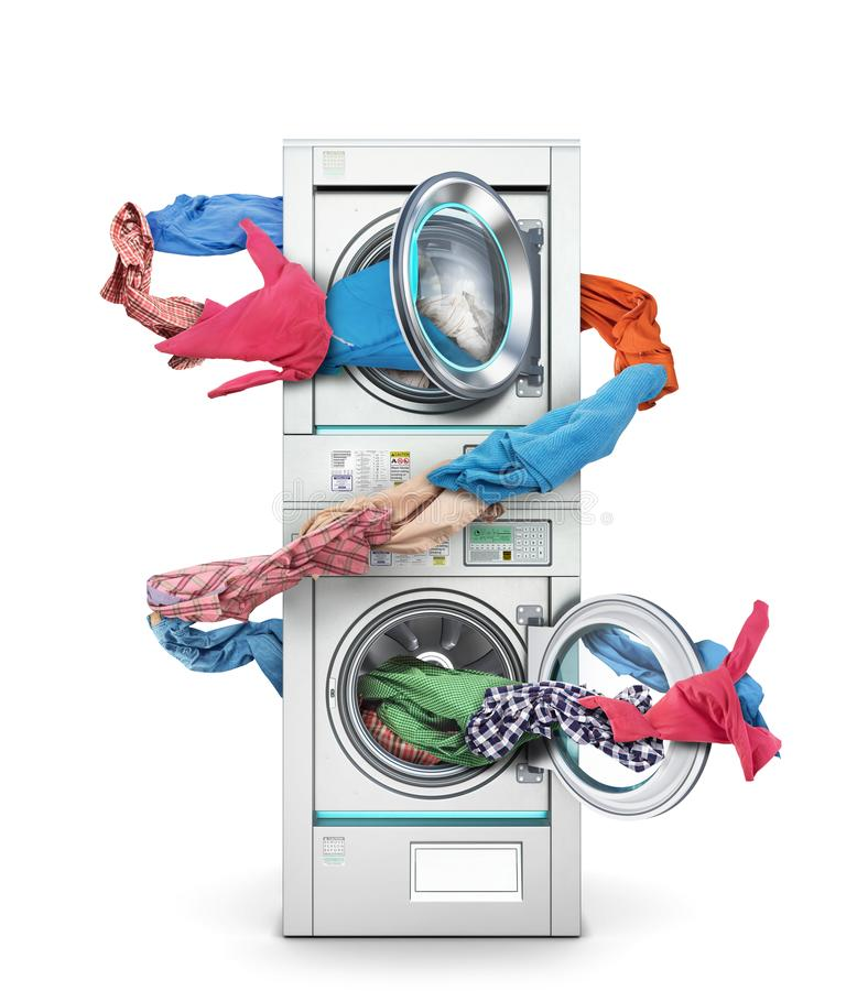 Clothes fly out of a washing machine into a tumble dryer. On a white background stock photo