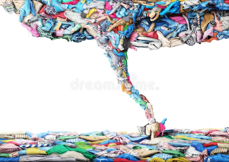 Clothes in the form of a tornado. On a white background. Clothing concept royalty free stock images